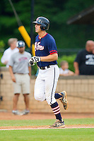 Robbie Streett #2 (Charleston Southern) of the High Point-Thomasville HiToms rounds the bases after hitting a 2-run home run against the Wilson Tobs at Finch Field on June 17, 2013 in Thomasville, North Carolina.  The Tobs defeated the HiToms 3-2 in 11 innings.  Brian Westerholt/Four Seam Images