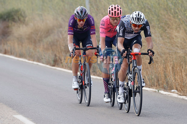 Bert Jan Lindeman (NED) Qhubeka NextHash, Magnus Cort Nielsen (DEN) EF Education-Nippo and Jetse Bol (NED) Burgos-BH part of the breakaway during Stage 6 of La Vuelta d'Espana 2021, running 158.3km from Requena to Alto de la Montaña Cullera, Spain. 19th August 2021.    <br /> Picture: Luis Angel Gomez/Photogomezsport | Cyclefile<br /> <br /> All photos usage must carry mandatory copyright credit (© Cyclefile | Luis Angel Gomez/Photogomezsport)