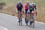 Bert Jan Lindeman (NED) Qhubeka NextHash, Magnus Cort Nielsen (DEN) EF Education-Nippo and Jetse Bol (NED) Burgos-BH part of the breakaway during Stage 6 of La Vuelta d'Espana 2021, running 158.3km from Requena to Alto de la Montaña Cullera, Spain. 19th August 2021.    <br /> Picture: Luis Angel Gomez/Photogomezsport   Cyclefile<br /> <br /> All photos usage must carry mandatory copyright credit (© Cyclefile   Luis Angel Gomez/Photogomezsport)