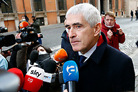 Center group Senator Pier Ferdinando Casini outside the Senate, where a trust vote is going on, due to the Government crisis.<br /> Rome(Italy), January 19th 2021<br /> Photo Samantha Zucchi/Insidefoto