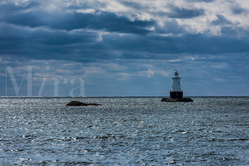 Sakonnet Light, 1884, sparkplug lighthouse, Little Compton, Rhode Island, USA.