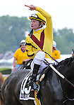 09 May 16:  Calvin Borel celebrates after riding filly Rachel Alexandra to victory in the 134th running of the grade 1 Preakness Stakes for three year olds at Pimlico Race Track in Baltimore, Maryland.