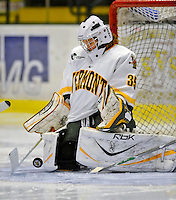 9 February 2008: University of Vermont Catamounts' goaltender Kristen Olychuck, a Sophomore from Kelowna, British Columbia, makes a save against the Boston University Terriers at Gutterson Fieldhouse in Burlington, Vermont. The Terriers shut out the Catamounts 2-0 in the Hockey East matchup...Mandatory Photo Credit: Ed Wolfstein Photo