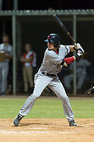 AZL Indians 2 shortstop Raynel Delgado (32) at bat during an Arizona League game against the AZL Cubs 2 at Sloan Park on August 2, 2018 in Mesa, Arizona. The AZL Indians 2 defeated the AZL Cubs 2 by a score of 9-8. (Zachary Lucy/Four Seam Images)