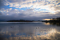 25/02/15  <br /> <br /> Waterfowl are lit by the first rays of light as dawn breaks over Carsington Water, near Ashbourne in the Derbyshire Peak District. <br /> <br /> <br /> All Rights Reserved - F Stop Press.  www.fstoppress.com. Tel: +44 (0)1335 418629 +44(0)7765 242650
