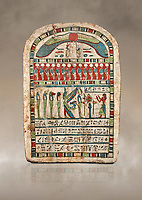 Ancient Egyptian stele dedicated to Re-Harakhty by Irtiertjay,  Late Period, 25th Dynasty, (7620-580 BC), Thebes, Cat 1530. Egyptian Museum, Turin. <br /> <br /> The round topped stele dedicated by Irtiertjay to Re-Harakhty , Isis and the 4 sons of Horus. Gifted by the Cairo Museum