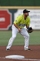 Third baseman Vinny Siena (8) of the Columbia Fireflies plays defense in a game against the Augusta GreenJackets on Saturday, July 29, 2017, at Spirit Communications Park in Columbia, South Carolina. Columbia won, 3-0. (Tom Priddy/Four Seam Images)
