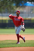 Philadelphia Phillies shortstop Jonathan Guzman (8) during practice before an exhibition game against the Canada Junior National Team on March 12, 2020 at Baseball City in St. Petersburg, Florida.  (Mike Janes/Four Seam Images)