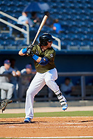 Biloxi Shuckers right fielder Clint Coulter (40) at bat during a game against the Jacksonville Jumbo Shrimp on May 6, 2018 at MGM Park in Biloxi, Mississippi.  Biloxi defeated Jacksonville 6-5.  (Mike Janes/Four Seam Images)
