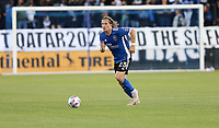 SAN JOSE, CA - MAY 15: Florian Jungwirth #23 of the San Jose Earthquakes moves with the ball during a game between Portland Timbers and San Jose Earthquakes at PayPal Park on May 15, 2021 in San Jose, California.