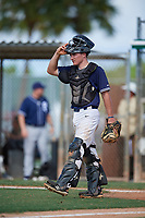 Eric Grintz during the WWBA World Championship at the Roger Dean Complex on October 18, 2018 in Jupiter, Florida.  Eric Grintz is a catcher from Glenmoore, Pennsylvania who attends Downington West Campus High School and is committed to North Carolina.  (Mike Janes/Four Seam Images)