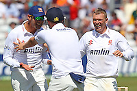 Tom Craddock of Essex (R) celebrates the wicket of Ian Bell - Essex CCC vs England - LV Challenge Match at the Essex County Ground, Chelmsford - 30/06/13 - MANDATORY CREDIT: Gavin Ellis/TGSPHOTO - Self billing applies where appropriate - 0845 094 6026 - contact@tgsphoto.co.uk - NO UNPAID USE