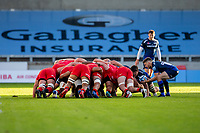 9th September 2020; AJ Bell Stadium, Salford, Lancashire, England; English Premiership Rugby, Sale Sharks versus Sracens; Will Cliff of Sale Sharks puts into a scrum