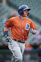 Durham Bulls shortstop Daniel Robertson (28) jogs to first base during a game against the Buffalo Bisons on June 13, 2016 at Coca-Cola Field in Buffalo, New York.  Durham defeated Buffalo 5-0.  (Mike Janes/Four Seam Images)