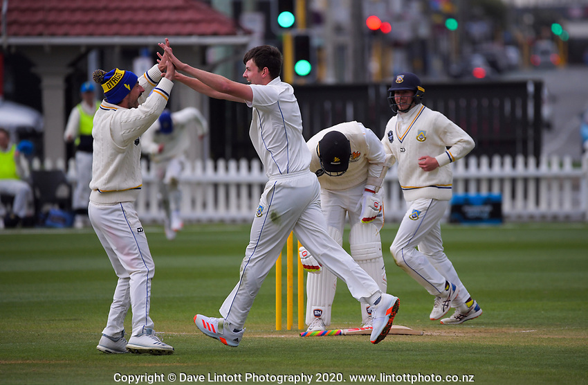 Jacob Duffy celebrates dismissing Iain McPeake for Otago's first win of the season during day four of the Plunket Shield match between the Wellington Firebirds and Otago Volts at Basin Reserve in Wellington, New Zealand on Sunday, 8 November 2020. Photo: Dave Lintott / lintottphoto.co.nz