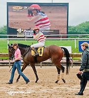 Promised Destiny with Mrs. Blair Wyatt aboard winning The International Ladies Fegentri Race at Delaware Park on 6/10/13