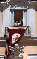 .Pope Benedict XVI puts his hands together during his Sunday Angelus prayer at his summer residence of Castel Gandolfo, outside Rome, Sunday, Sept. 24, 2006.