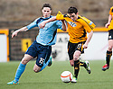 Alloa's Kevin Cawley holds off Forfar's Willie Robertson.