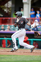 Erie SeaWolves right fielder Daz Cameron (15) grounds into a double play during a game against the New Hampshire Fisher Cats on June 20, 2018 at UPMC Park in Erie, Pennsylvania.  New Hampshire defeated Erie 10-9.  (Mike Janes/Four Seam Images)