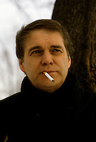 Montreal, CANADA, EXCLUSIVE File Photo of<br /> <br />  CKVL crime reporter Claude Poirier on January 16, 1988.<br /> <br /> Photo : Pierre Roussel - Agence Quebec Presse