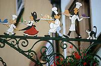 "Europe/France/Alsace/68/Haut-Rhin/Eguisheim: Enseigne du Restaurant ""Le Caveau d'Eguisheim"""