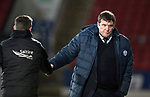 St Johnstone v Aberdeen…13.12.17…  McDiarmid Park…  SPFL<br />An unhappy Tommy Wright shakes hands with Derek McInnes at full time<br />Picture by Graeme Hart. <br />Copyright Perthshire Picture Agency<br />Tel: 01738 623350  Mobile: 07990 594431