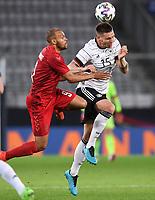 2nd June 2021, Tivoli Stadion, Innsbruck, Austria; International football friendly, Germany versus Denmark;  Martin Braithwaite left, Denmark against Niklas Suele right, Germany