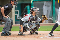 Abel Baker (16) of the Albuquerque Isotopes on defense against the Salt Lake Bees in Pacific Coast League action at Smith's Ballpark on June 8, 2015 in Salt Lake City, Utah.   The Isotopes defeated the Bees 8-7 in game two of a double-header.  (Stephen Smith/Four Seam Images)
