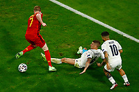 Kevin De Bruyne of Belgium, Marco Verratti and Lorenzo Insigne of Italy compete for the ball during the Uefa Euro 2020 round of 8 football match between Belgium and Italy at football arena in Munich (Germany), July 2nd, 2021. Photo Matteo Ciambelli / Insidefoto