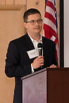 April 19, 2017- Tuscola, IL- Lyondell Basell's Dustin Olsen speaks to the crowd prior to presenting Congressman John Shimkus with the National Association of Manufacturers' Award for Manufacturing Legislative Excellence. [Photo: Douglas Cottle]
