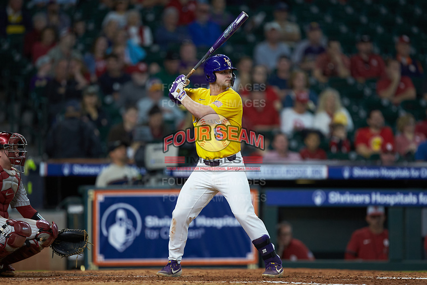 Drew Bianco (5) of the LSU Tigers at bat against the Oklahoma Sooners in game seven of the 2020 Shriners Hospitals for Children College Classic at Minute Maid Park on March 1, 2020 in Houston, Texas. The Sooners defeated the Tigers 1-0. (Brian Westerholt/Four Seam Images)