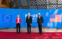 President Joe Biden poses for photos with President of the European Council Charles Michel and President of the European Commission Ursula von der Leyen Tuesday, June 15, 2021, at the European Council headquarters in Brussels. (Official White House Photo by Adam Schultz)