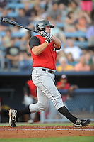Dan Black Designated Hitter Kannapolis Intimidators (Chicago White Sox) swings at a pitch at McCormick Field August 13, 2009 in Asheville, NC (Photo by Tony Farlow/Four Seam Images)