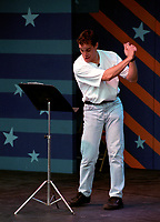 Montreal (Quebec) CANADA - July 19 1996 File Photo - <br />  Michel Courtemanche perform outdoor during the Festival Juste Pour Rire 1996