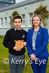 Stefan Lajtar who won the Principal's Arward from Stella Loughnane at the 2021 Killarney Community College awards on Tuesday