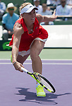 April 1 2017: Caroline Wozniacki (DEN) loses to Johanna Konta (GBR) 4-6, 3-6, at the Miami Open being played at Crandon Park Tennis Center in Miami, Key Biscayne, Florida. ©Karla Kinne/Tennisclix/Cal Sports Media