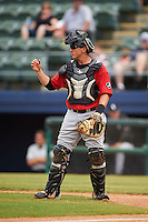 Birmingham Barons catcher Martin Medina (30) during a game against the Biloxi Shuckers on May 24, 2015 at Joe Davis Stadium in Huntsville, Alabama.  Birmingham defeated Biloxi 6-4 as the Shuckers are playing all games on the road, or neutral sites like their former home in Huntsville, until the teams new stadium is completed.  (Mike Janes/Four Seam Images)