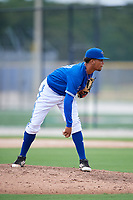 GCL Blue Jays relief pitcher Brayan Mejia (57) looks in for the sign during a game against the GCL Phillies West on August 7, 2018 at Bobby Mattick Complex in Dunedin, Florida.  GCL Blue Jays defeated GCL Phillies West 11-5.  (Mike Janes/Four Seam Images)