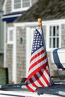 American flag on boat.