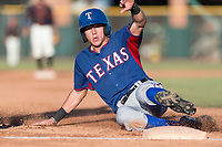 AZL Rangers left fielder Kobie Taylor (3) slides into third base during an Arizona League game against the AZL Giants Black at Scottsdale Stadium on August 4, 2018 in Scottsdale, Arizona. The AZL Giants Black defeated the AZL Rangers by a score of 3-2 in the first game of a doubleheader. (Zachary Lucy/Four Seam Images)