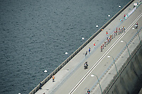 A birds view of the race leaders crossing the dam<br /> <br /> Belgian National Road Cycling Championships 2016<br /> Les Lacs de l'Eau d'Heure