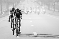 Jens Keukeleire (BEL/Orica-Scott) & Greg Van Avermaet (BEL/BMC) jump away from their competitors and force the final/decisive move that way<br /> <br /> 79th Gent-Wevelgem 2017 (1.UWT)<br /> 1day race: Deinze › Wevelgem - BEL (249km)