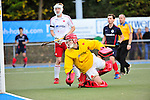 MANNHEIM, DEUTSCHLAND, NOVEMBER 09: 10. Spieltag in der Feldhockey Saison 2013/2014. Begegnung zwischen dem Mannheimer HC (blau) und dem Nürnberger HTC (weiss)  in der 1. Bundesliga Herren am 09. November, 2013 in Mannheim, Deutschland. Endstand 7-1 (4-0). (Photo by Dirk Markgraf/www.265-images.com)<br /> *** Local caption *** #1 Steffen König vom Nürnberger HTC