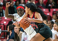 COLLEGE PARK, MD - FEBRUARY 9: Arella Guirantes #24 of Rutgers pushes past Ashley Owusu #15 of Maryland during a game between Rutgers and Maryland at Xfinity Center on February 9, 2020 in College Park, Maryland.
