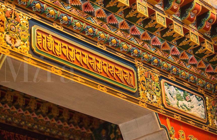 Nepal Detailed interior of the Kharigandentenphelling Monastery nunnery  in the village of Thamo, Solukhumbu remote, Mt Everest, Himalayas