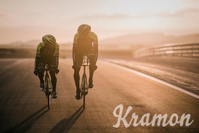 Caleb Ewan (AUS/Michelton-Scott) & Roger Kluge (DEU/Michelton-Scott) during TTT training at dawn at the Circuito de Almeria Fans<br /> <br /> Michelton-Scott training camp in Almeria, Spain<br /> february 2018