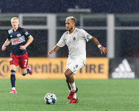 FOXBOROUGH, MA - SEPTEMBER 1: Maxi Schenfeld #19 of FC Tucson brings the ball forward during a game between FC Tucson and New England Revolution II at Gillette Stadium on September 1, 2021 in Foxborough, Massachusetts.