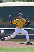 Andrew Rohrbach #27 of the Long Beach State Dirtbags pitches against the Indiana Hoosiers at Blair Field on March 15, 2014 in Long Beach, California. Indiana defeated Long Beach State 2-1. (Larry Goren/Four Seam Images)
