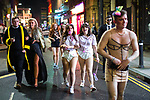 © Joel Goodman - 07973 332324 . 26/12/2017. Wigan, UK. Revellers in Wigan enjoy Boxing Day drinks and clubbing in Wigan Wallgate . In recent years a tradition has been established in which people go out wearing fancy-dress costumes on Boxing Day night . Photo credit : Joel Goodman