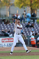 Keith Grieshaber (4) of the Inland Empire 66ers in the field during a game against the Rancho Cucamonga Quakes at San Manuel Stadium on July 29, 2017 in San Bernardino, California. Inland Empire defeated Rancho Cucamonga, 6-4. (Larry Goren/Four Seam Images)